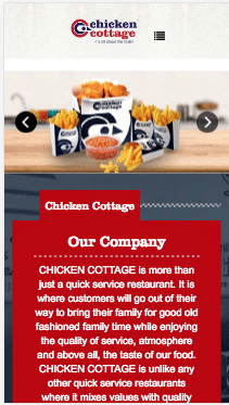 chicken cottage, mobile, responsive, screenshot, website, design, website solutions,