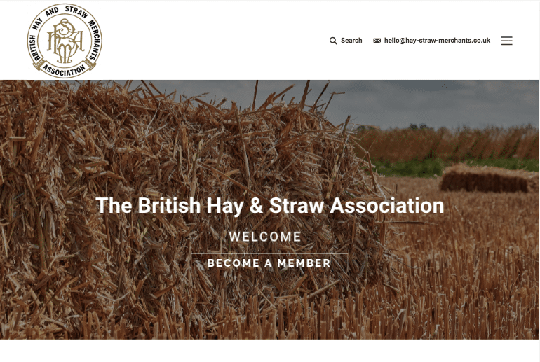british, hay, straw, association, website, home page, website solutions, design,
