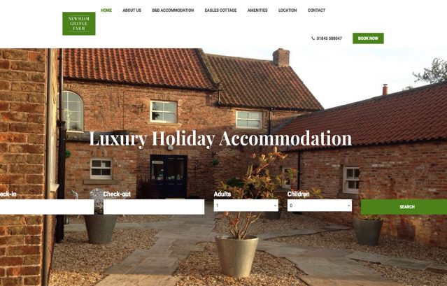 newsham grange farm, booking system, hotel, resolution, website design, website solutions